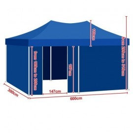 BLU Gazebo RICHIUDIBILE 6x3mt IMPERMEABILE 44 kg